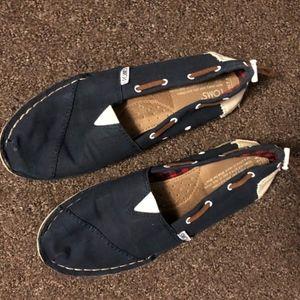 Toms | Navy Nautical Slip-Ons